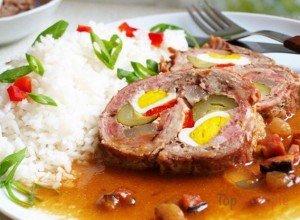 Schweinerouladen mit Reis